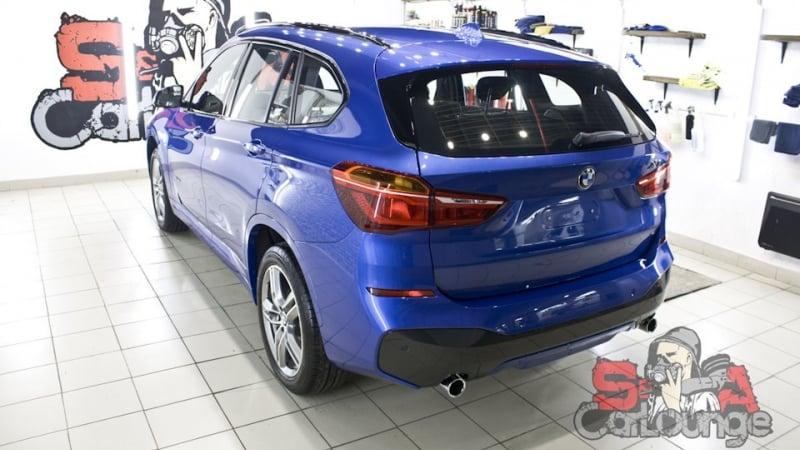 Подготовительная двухэтапная полировка BMW X1. Керамическая защита кузова и бронь фар полиуретановой пленкой