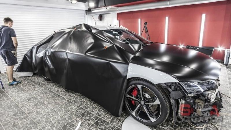 Покрытие кузова автомобиля Audi RS7 виниловой пленкой с