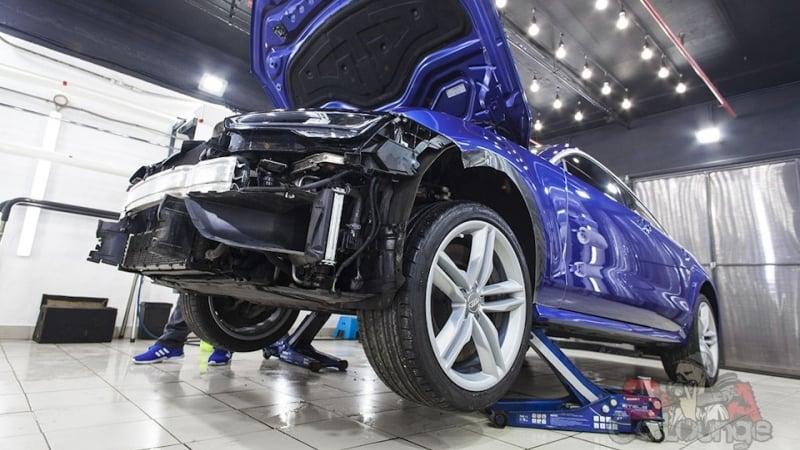 Нанесение новой защитной пленки LLumar PPF Gloss на кузов автомобиля. В работе Audi S7 с небольшим пробегом 5 тыс. км. Защита кузова, бампера, зеркал и порогов
