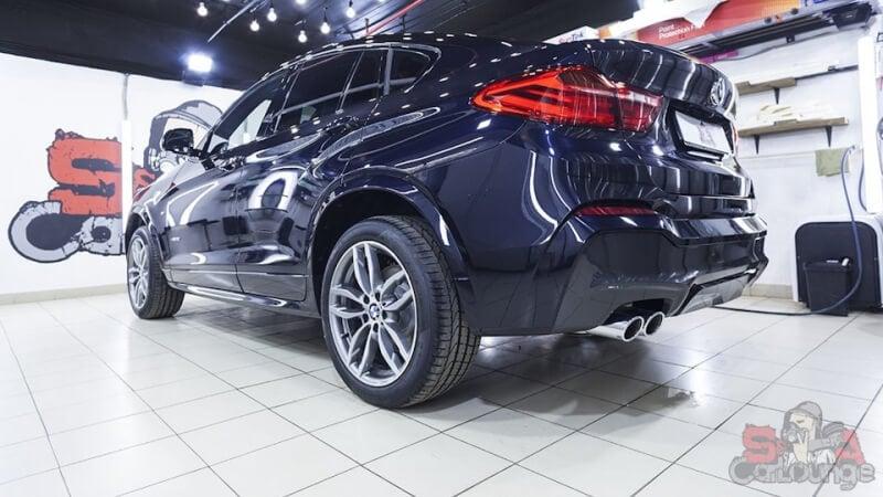 Работа с автомобилем BMW X4. Нанесение на кузов защитного покрытия SunTek PPF Ultra. Обработка оптики и отдельных деталей машины