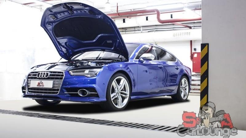 Комплексная мойка автомобиля Audi S7. Химчистка подвески, подкапотного пространства и кузова автомобиля