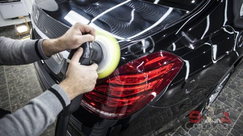 Профилактические работы с автомобилем Mercedes-Benz S-class W222. Покрытие защитной пленкой, деликатная мойка кузова и тонировка стекол.