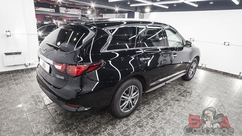 Обслуживание нового автомобиля Infiniti QX60. Профилактические работы по защите кузова, шумоизоляция колесных арок и установка защитной сетки на бампер.