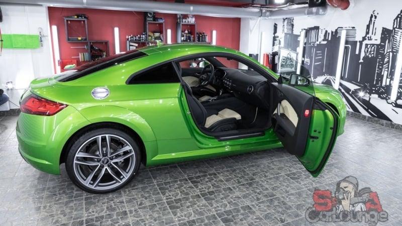 Работа с новым автомобилем Audi TT. Обработка кузова с последующим нанесением защитного покрытия. Обработка кожаного салона защитным составом.